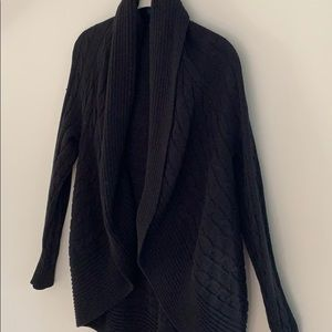 Chaps open front cable knit black cardigan. Small